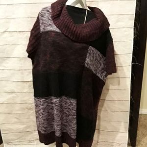 Short sleeve black& purple long cowl neck sweater